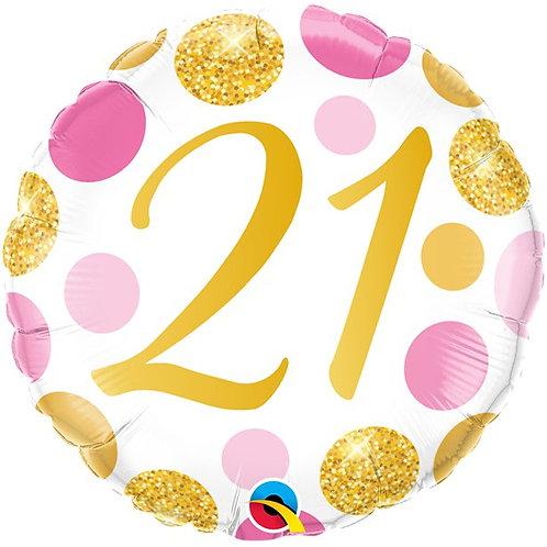 21st Pink & Gold Dots Foil Balloon