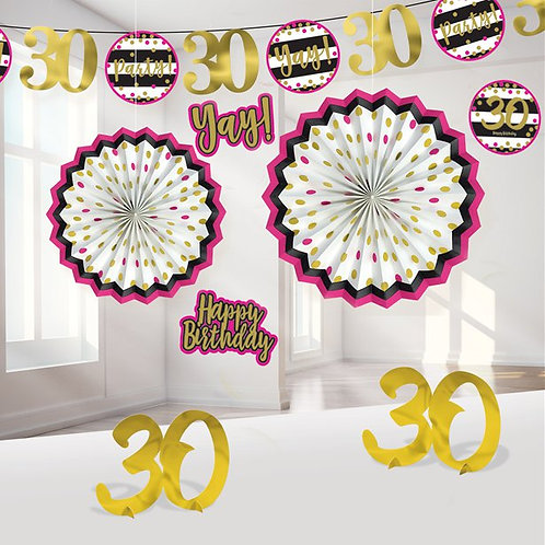 30th Pink & Gold Milestone Decorating Kit