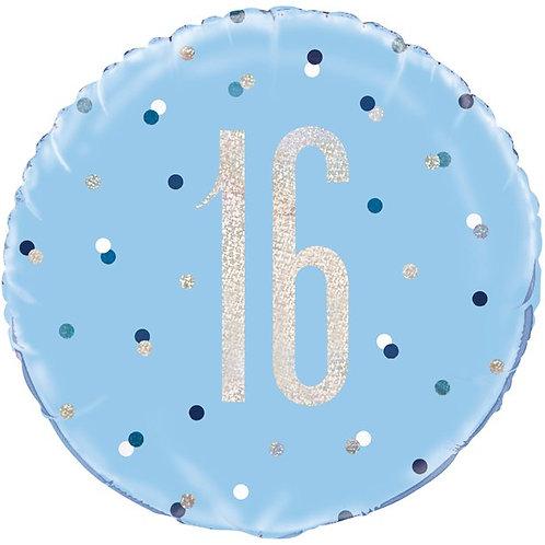 "16th Birthday Foil Blue Balloon. Size 18"""