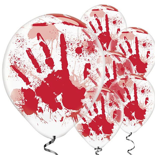Bloody Hand Printed Halloween Balloons
