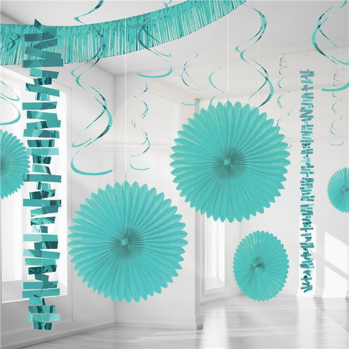 Turquoise Paper & Foil Room Party Decorating Kit