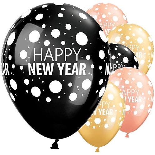 Happy New Year Dots Balloons