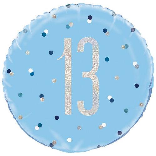 13th Birthday Glitz Foil Blue Balloon