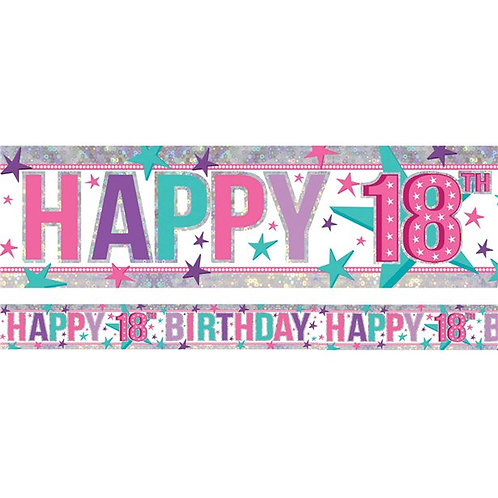 18th Birthday Pink Holographic Foil Banner