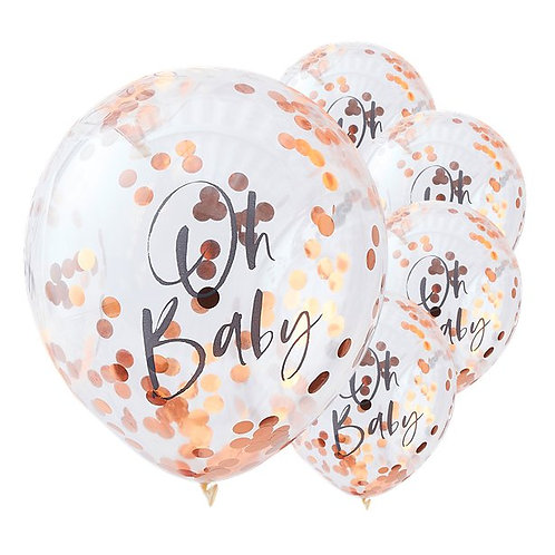 Oh Baby Rose Gold Confetti Latex Balloons
