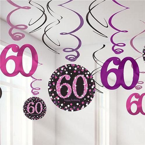 60th Birthday Pink Celebration Hanging Swirls