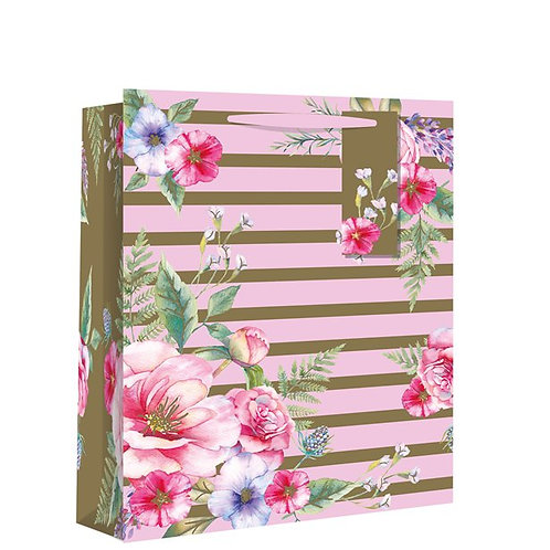 Striped Floral Gift Bags Medium