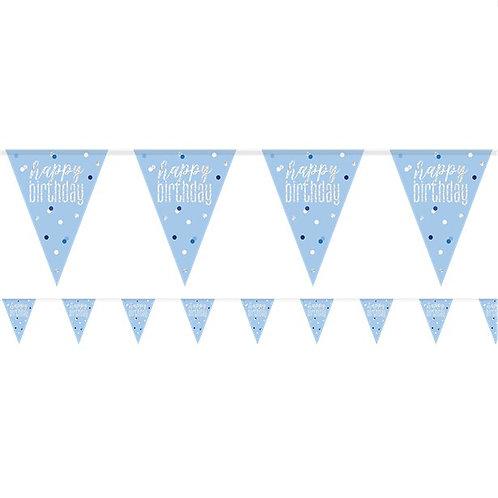 Happy Birthday Blue Glitz Prismatic Bunting Banner