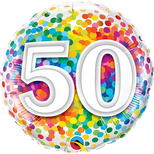 50th Birthday Rainbow Confetti Foil Balloon