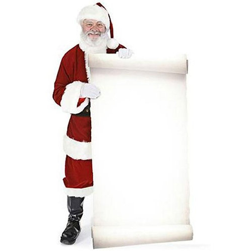 Santa with Large Message Sign Cardboard Cutout