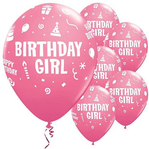 Birthday Girl Pink Balloons