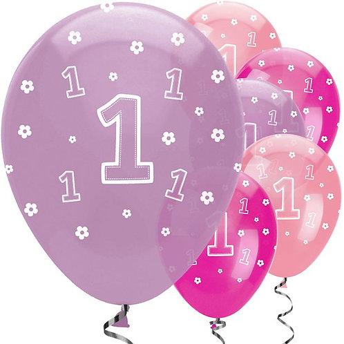 1st Birthday Girls Mixed Balloons