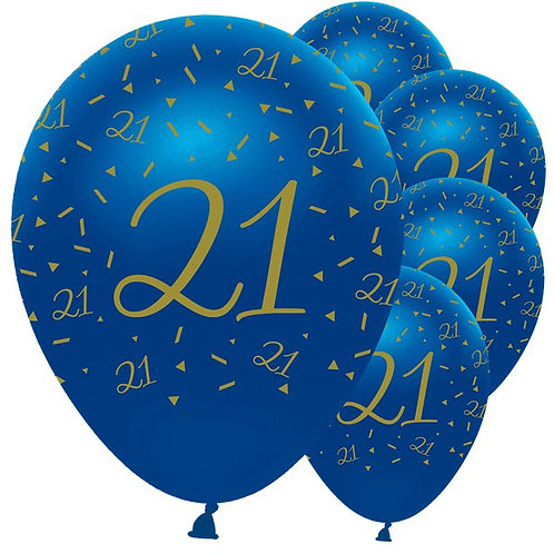 21st Happy Birthday Navy And Gold Balloons