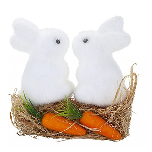 Flocked Bunnies With Grass & Carrots