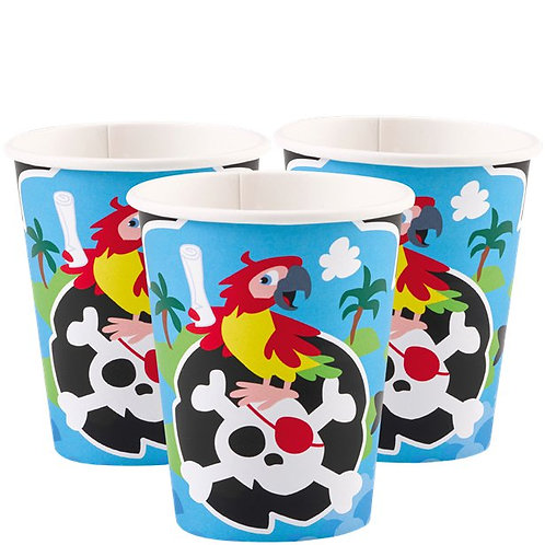 Captain Pirate Party Cups Pack Of 8