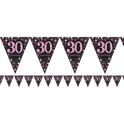 30th Birthday Party Prismatic Pink Number Foil Bunting