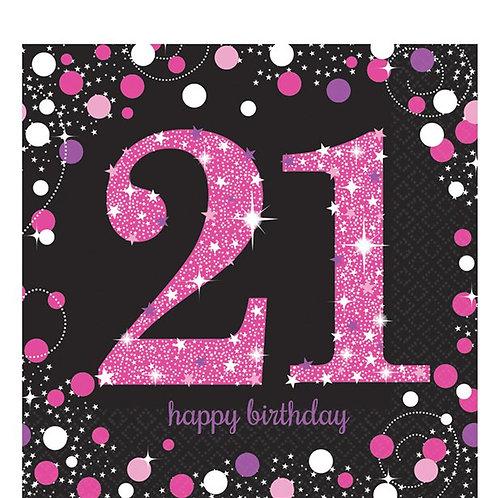 21st Pink Celebration Paper Napkins