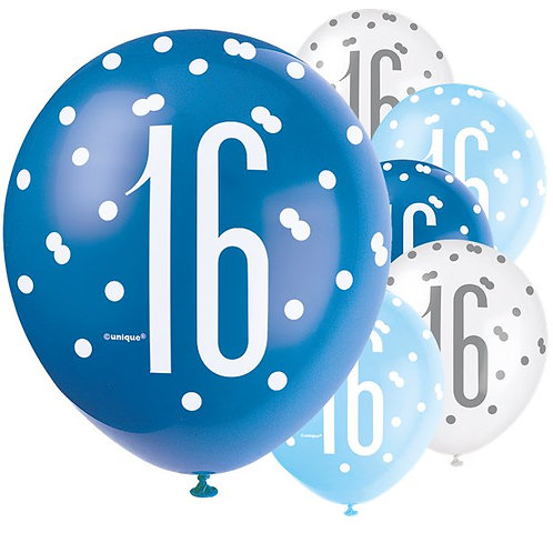 16th Birthday Blue Glitz Balloons