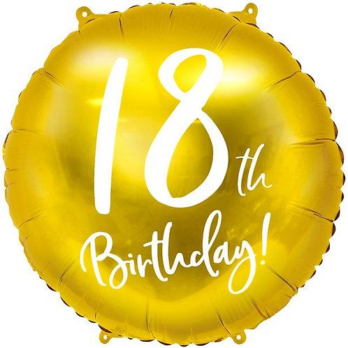 18th Birthday Gold Foil Balloon