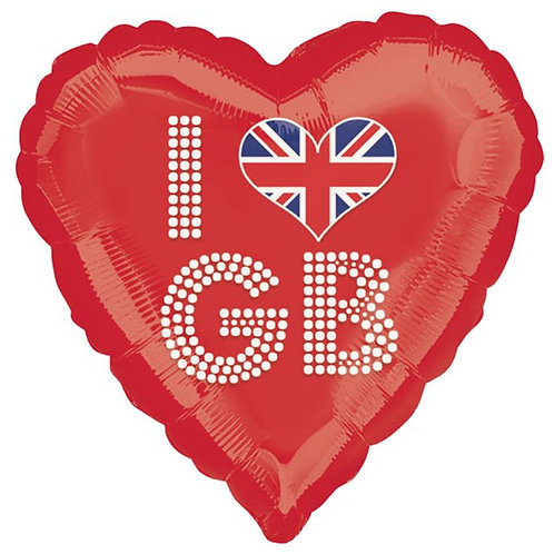 I Love GB Great Britain Shaped Foil Balloons