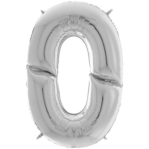 """Number 0 Silver Foil Balloon-64"""""""