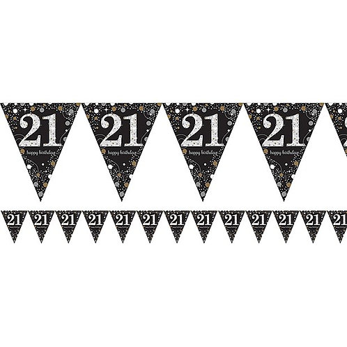 21st Black And Silver Prismatic Number Foil Bunting