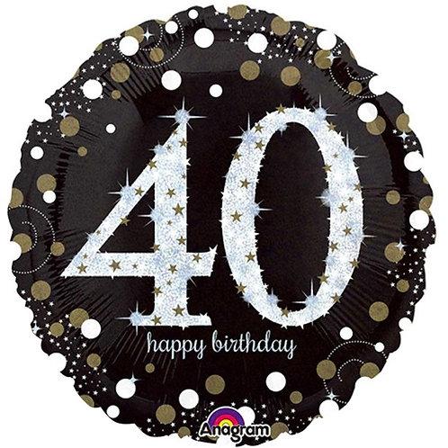 Happy 40th Birthday Gold Sparkling Celebration Foil Balloon