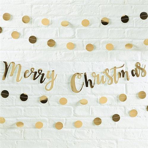 Merry Christmas Gold Metallic Bunting