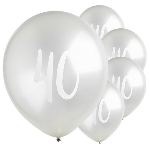 40th Birthday Silver Balloons