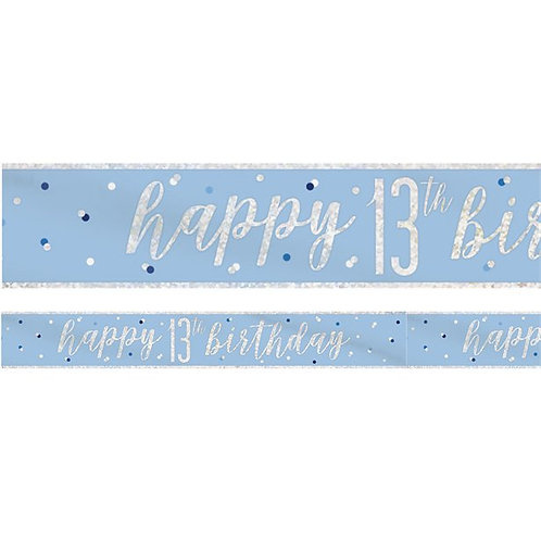 13th Birthday Blue Party Foil Banner