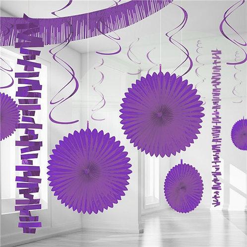 Purple Paper & Foil Room Party Decorating Kit