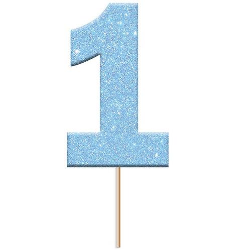 Number 1 Blue Glitter Cake Topper