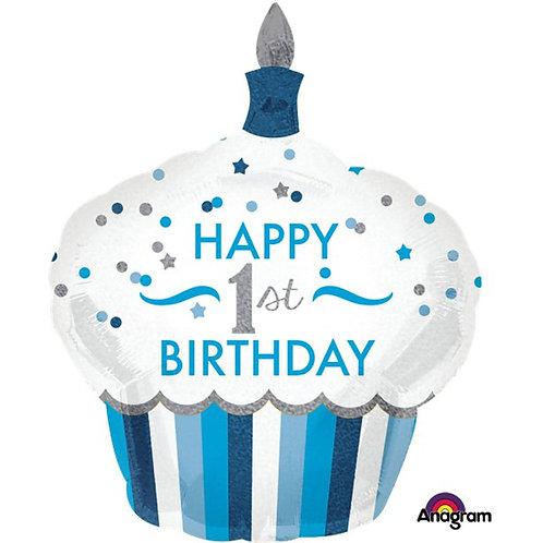 1st Birthday Cupcake Balloon Blue