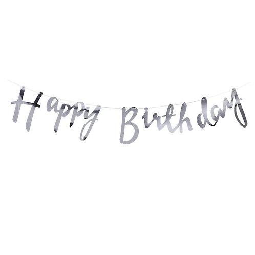 Happy Birthday Silver Letter Banner