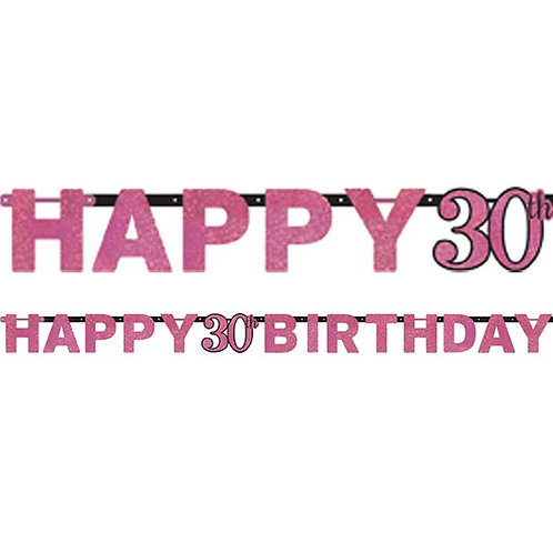 30th Happy Birthday Celebration Prismatic Letter Banner