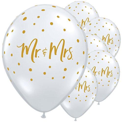 Mr & Mrs Gold Dots Diamond Balloons