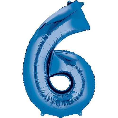 Blue Air Fill Number 6 Foil Balloon