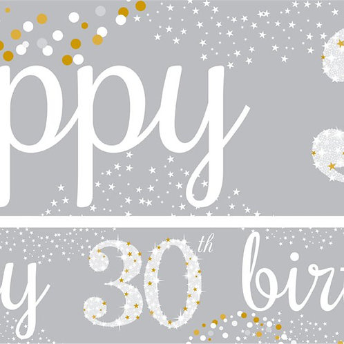 30th Birthday Silver & Gold Paper Banners