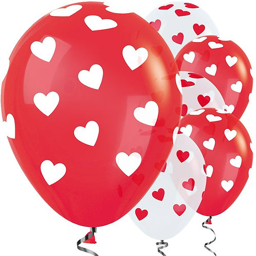 Hearts Red & White Balloons
