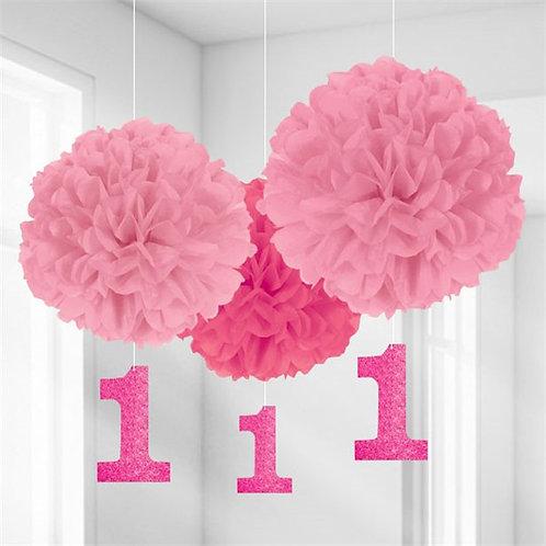 1st Birthday Pom Pom Decorations Pink