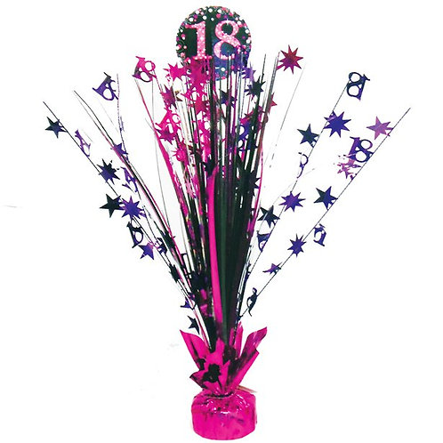 18th Pink Foil Table Centrepiece