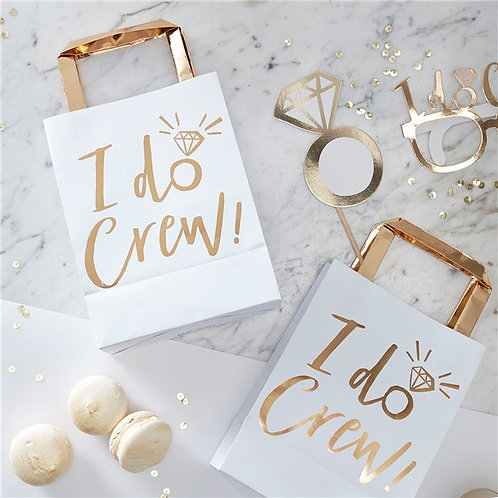 I Do Crew Gold Foil Paper Party Bags