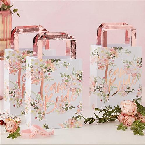 Team Bride Floral Hen Party Paper Bags