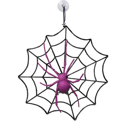 Glitter Halloween Spider and Web
