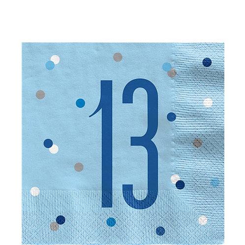 13th Birthday Blue Napkins