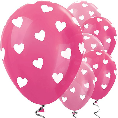 Hearts Pink Latex Balloons