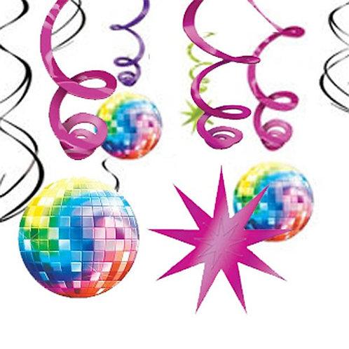 1970s Disco Fever Hanging Swirls Decorations