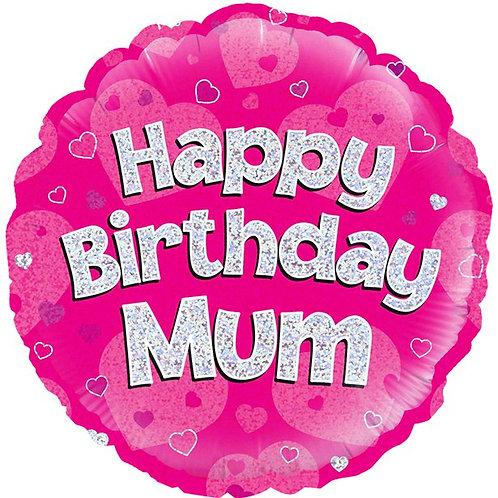 Happy Birthday Mum Pink Foil Balloon