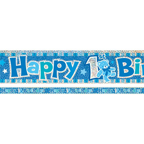 1st Happy Birthday Blue Foil Banner