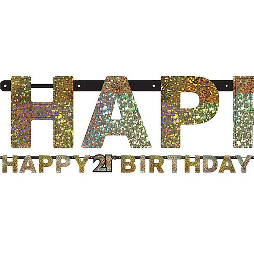 21st Birthday Party Celebration Prismatic Letter Banner